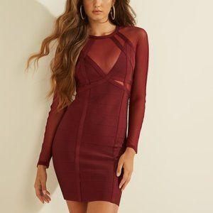 GUESS Karina Mesh Mix Long Sleeve Bandage Dress